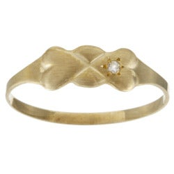 10k Gold Diamond Accent Bow Baby Ring (Size 1)