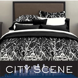 City Scene Black/ White Bamboo Print 7-piece Bed in a Bag with Sheet Set
