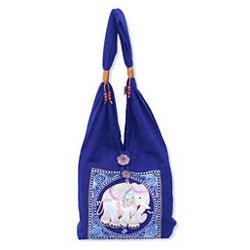 Cotton &#39;Lucky Elephant&#39; Handbag (Thailand)