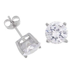 Tressa Sterling Silver CZ 8-mm Round Stud Earrings