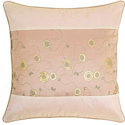 Light Brown/ Beige Sequined Cushion Cover