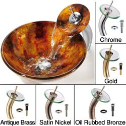 Kraus Amber Glass Vessel Sink and Waterfall Faucet
