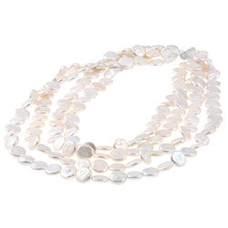 White Freshwater Coin Pearl 4-row Necklace (9-11 mm)