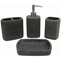 Faux stone 4 piece bathroom accessory set 11542490 for Stone bathroom accessories sets