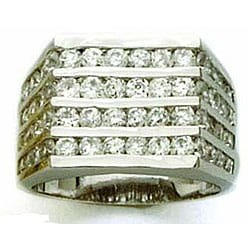 Simon Frank 14k White Gold Overlay Men's CZ Channel Ring