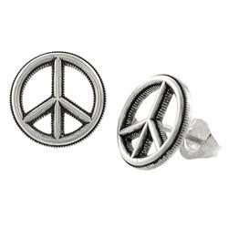 Tressa Sterling Silver Peace Sign Earrings