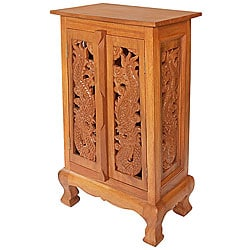 Hand-carved Dragon 32-inch Storage Cabinet/ End Table