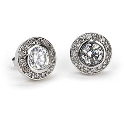 Simon Frank 14k White Gold Overlay CZ Earrings