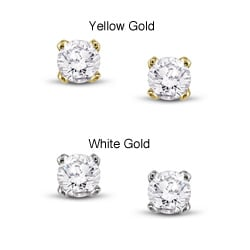 Miadora 14k Gold 1/10ct TDW Round Diamond Stud Earrings