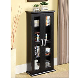 Black Wood Media Storage Tower