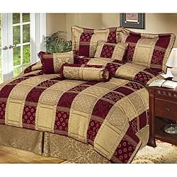 Hampton 7-piece Burgundy/ Gold Comforter Set