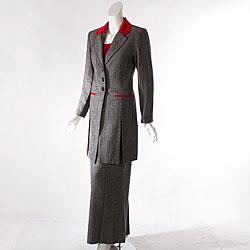 Audrey B Women  s Long Suit Coat and Pant Set | Overstock.com