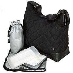OiOi Black Quilted Hobo Diaper Bag