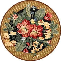 Hand-hooked Floral Black Wool Rug (3' Round)