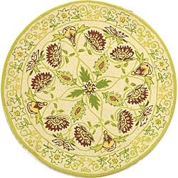 Hand-hooked Bedford Ivory/ Green Wool Rug (3' Round)