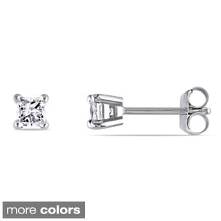 Miadora 14k Gold 1/3ct TDW Princess-cut Diamond Studs (J-K, I2-I3)