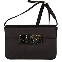 Prada Black Satin Convertible Strap Clutch