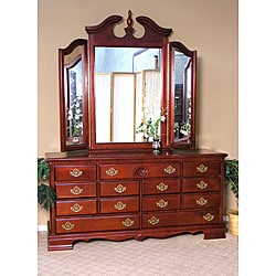 furniture of america vayne traditional 2 piece cherry dresser and