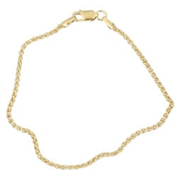 Sterling Essentials 14K Gold over Silver 9-inch Spiga Anklet