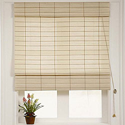 Chicology Roman Shade Cotton and Jute Fabric Privacy Kyoto Cappuccino Cream (60-inch x 72-inch)