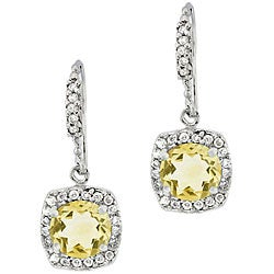 Glitzy Rocks Sterling Silver Citrine and CZ Dangle Earrings