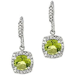 Glitzy Rocks Sterling Silver Peridot and CZ Dangle Earrings