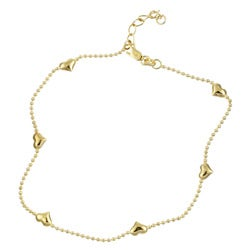 Sterling Essentials 14K Gold over Silver Puffed Heart Anklet