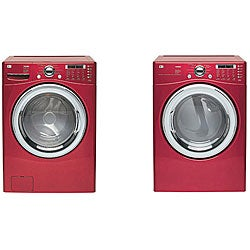 LG Front-load Red Steam Washer and Dryer Set (Refurbished)