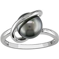 14k Gold Tahitian Pearl and Diamond Ring (8-9 mm)
