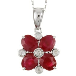 Kabella 14k White Ruby and Diamond Flower Necklace