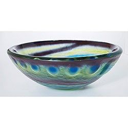 DeNovo Artsy Swirl Glass Bathroom Vessel Sink