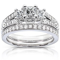 14k Gold 1ct TDW Princess-cut Diamond Bridal Set