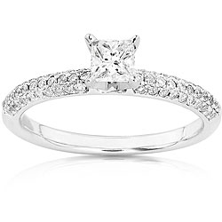 14k Gold 1/2ct TDW Princess-cut Diamond Engagement Ring (H-I, I1-I2)