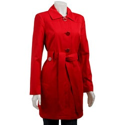 London Fog Women's Red Belted Trench Coat