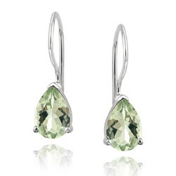 Glitzy Rocks Sterling Silver Green Amethyst Teardrop Earrings