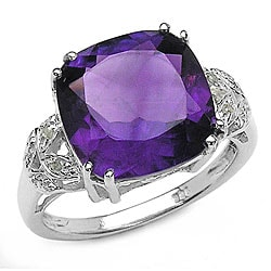 Malaika Silver Genuine Amethyst and Diamond Ring
