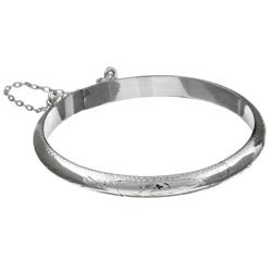 Sterling Essentials Sterling Silver 5.5-inch Floral Engraved Baby's Bangle