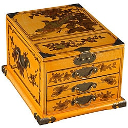 Yellow Leather Painted Chinese Birds Jewelry Box