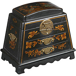 Handmade Black Leather Chinese Peony Jewelry Box