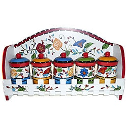 Viva Collection Hand-painted 5-piece Spice Rack
