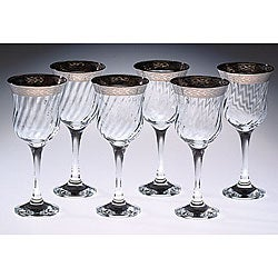 Italian Wine Glasses with Silver Trim (Set of 6)