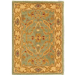 Handmade Antiquities Treasure Teal/ Beige Wool Rug (2' x 3')
