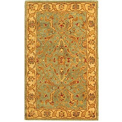 Handmade Antiquities Treasure Teal/ Beige Wool Rug (3' x 5')