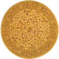 Handmade Antiquities Treasure Ivory/ Brown Wool Rug (6' Round)
