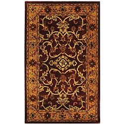 Handmade Taj Mahal Burgundy/ Gold Wool Rug (3' x 5')
