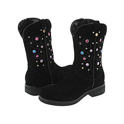 Nina Kids Two Step Cowgirl Boot (Toddler/Youth Black Suede