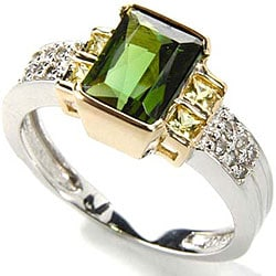 Michael Valitutti 14k Gold Tourmaline/ 1/10ct TDW Diamond Ring