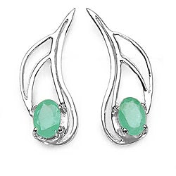 Malaika Silver Genuine Emerald Earrings