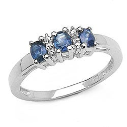Malaika Silver Genuine Blue Sapphire and Diamond Ring
