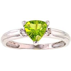 Michael Valitutti 14k Gold Peridot/ Diamond Ring (Size 7)